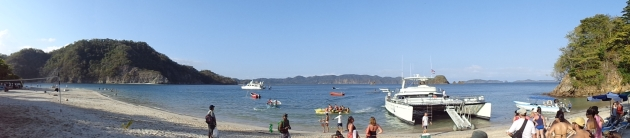 Panorama of our boat and the island